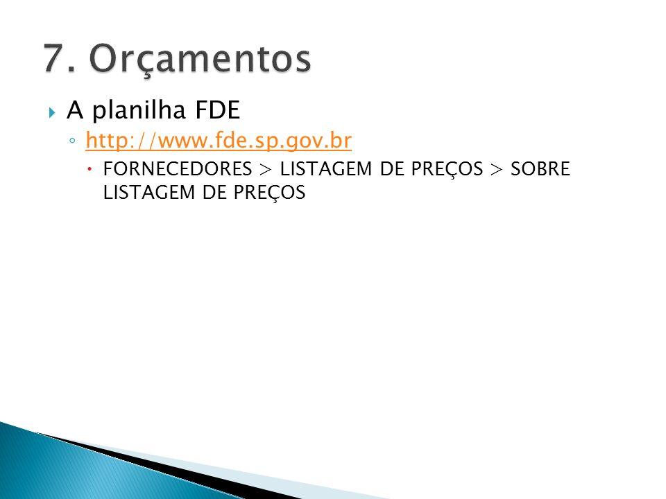 A planilha FDE http://www.fde.sp.gov.br FORNECEDORES > LISTAGEM DE PREÇOS > SOBRE LISTAGEM DE PREÇOS