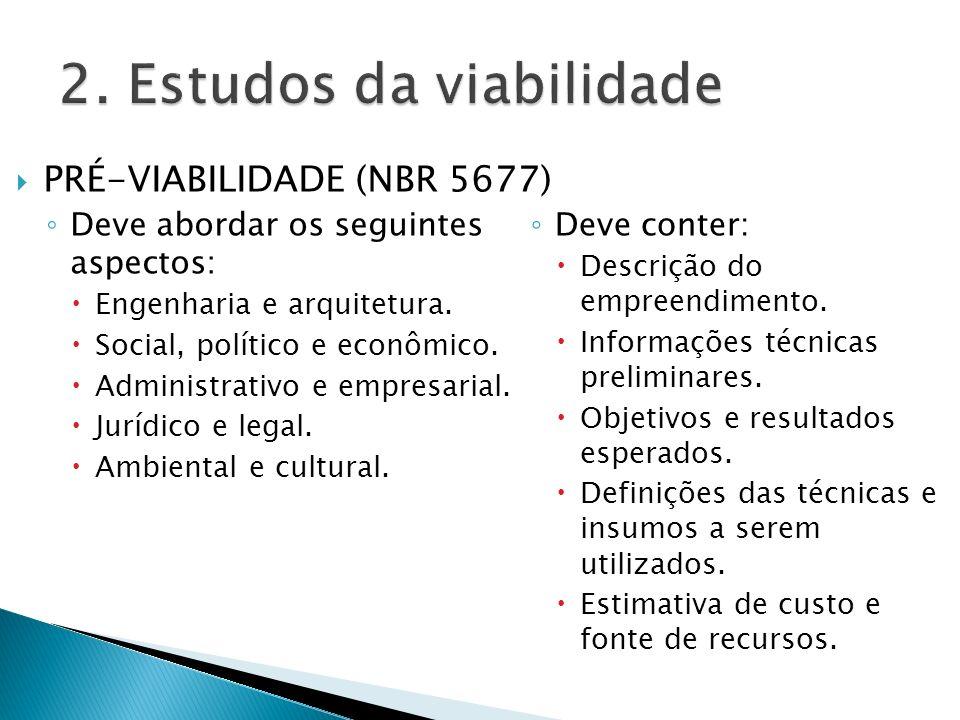PRÉ-VIABILIDADE (NBR 5677) Deve abordar os seguintes aspectos: Engenharia e arquitetura. Social, político e econômico. Administrativo e empresarial. J