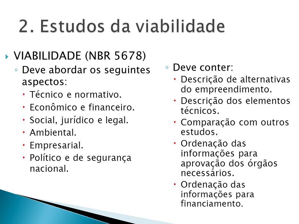 VIABILIDADE (NBR 5678) Deve abordar os seguintes aspectos: Técnico e normativo. Econômico e financeiro. Social, jurídico e legal. Ambiental. Empresari