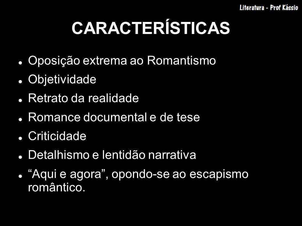 CARACTERÍSTICAS Oposição extrema ao Romantismo Objetividade Retrato da realidade Romance documental e de tese Criticidade Detalhismo e lentidão narrat