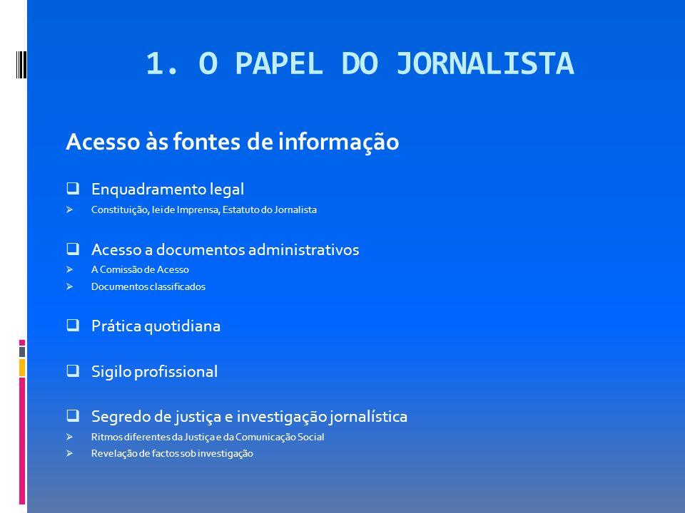 1. O PAPEL DO JORNALISTA Acesso às fontes de informação Enquadramento legal Constituição, lei de Imprensa, Estatuto do Jornalista Acesso a documentos