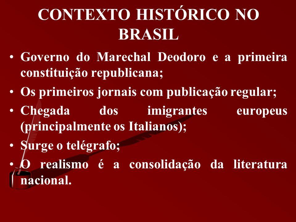 CONTEXTO HISTÓRICO NO BRASIL Ciclo do café; Decadência da monarquia; Abolição da escravatura (1888), que ocasiona a disponibilidade de grandes capitai