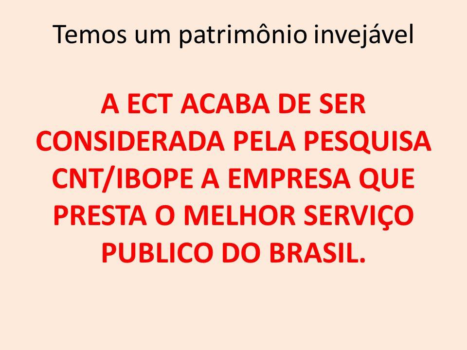 Temos um patrimônio invejável A ECT ACABA DE SER CONSIDERADA PELA PESQUISA CNT/IBOPE A EMPRESA QUE PRESTA O MELHOR SERVIÇO PUBLICO DO BRASIL.