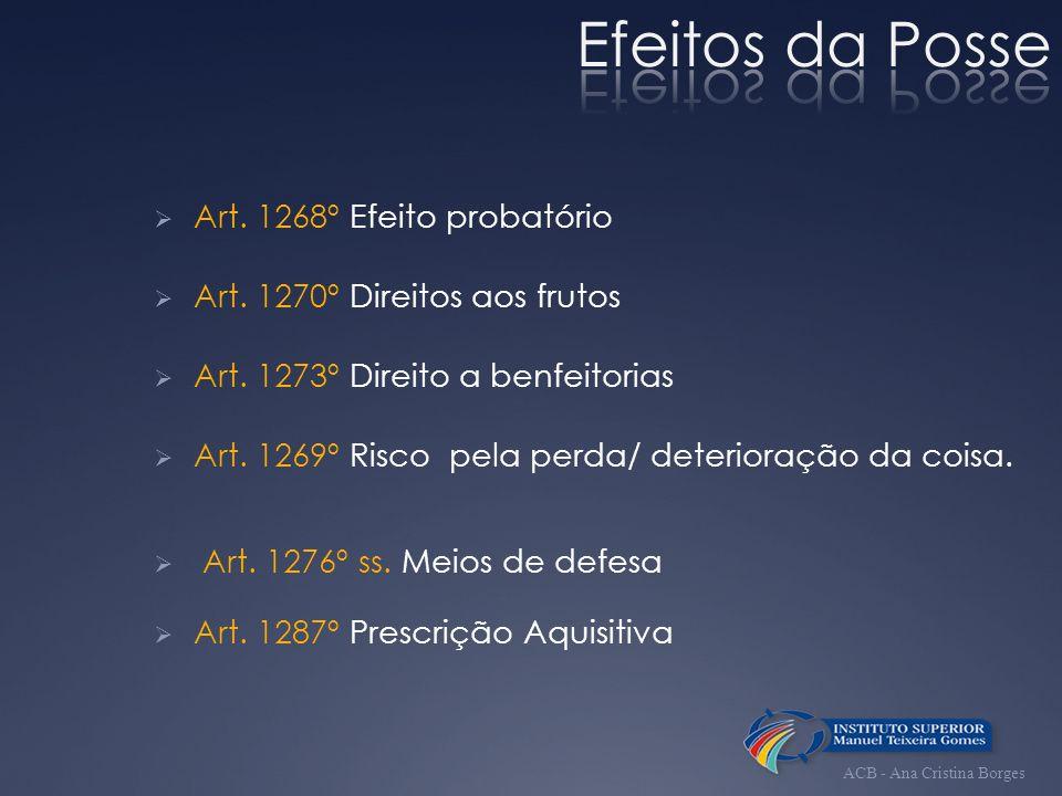 Art. 1268º Efeito probatório Art. 1270º Direitos aos frutos Art. 1273º Direito a benfeitorias Art. 1269º Risco pela perda/ deterioração da coisa. Art.