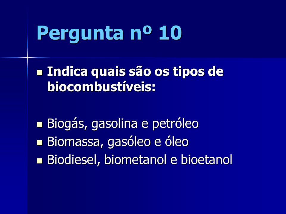 Pergunta nº 10 Indica quais são os tipos de biocombustíveis: Indica quais são os tipos de biocombustíveis: Biogás, gasolina e petróleo Biogás, gasolin
