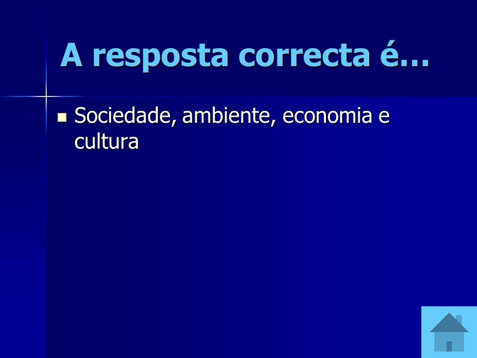 A resposta correcta é… Sociedade, ambiente, economia e cultura Sociedade, ambiente, economia e cultura