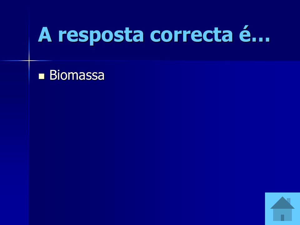 A resposta correcta é… Biomassa Biomassa