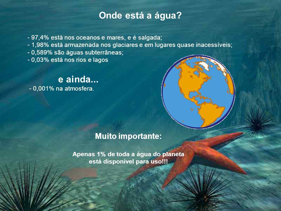 Onde está a água? - 97,4% está nos oceanos e mares, e é salgada; - 1,98% está armazenada nos glaciares e em lugares quase inacessíveis; - 0,589% são á