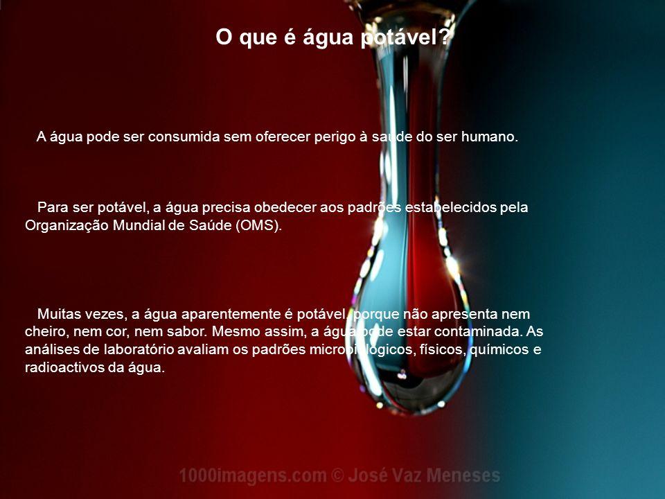 O que é água potável? A água pode ser consumida sem oferecer perigo à saúde do ser humano. Para ser potável, a água precisa obedecer aos padrões estab