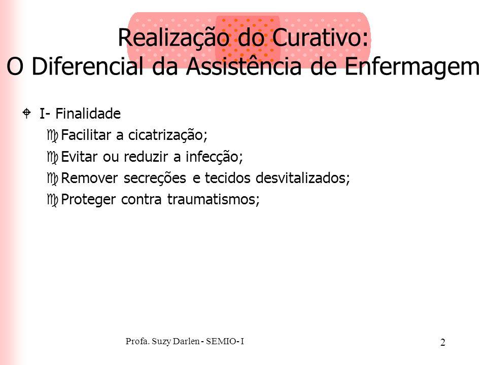 2 Realização do Curativo: O Diferencial da Assistência de Enfermagem WI- Finalidade cFacilitar a cicatrização; cEvitar ou reduzir a infecção; cRemover secreções e tecidos desvitalizados; cProteger contra traumatismos;