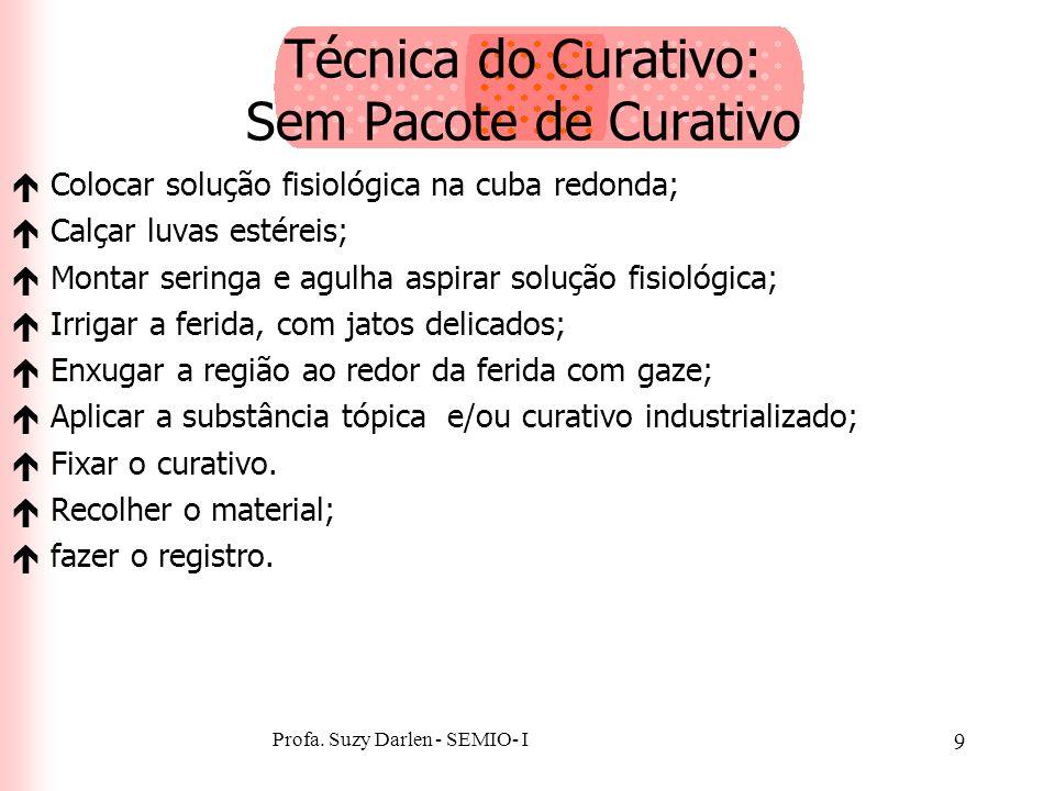 Profa. Suzy Darlen - SEMIO- I 8 Técnica do Curativo: Sem Pacote de Curativo éReunir o material; éLavar as mãos; éColocar o traçado e a bacia sob a reg