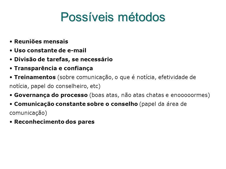 Possíveis métodos Reuniões mensais Uso constante de e-mail Divisão de tarefas, se necessário Transparência e confiança Treinamentos (sobre comunicação