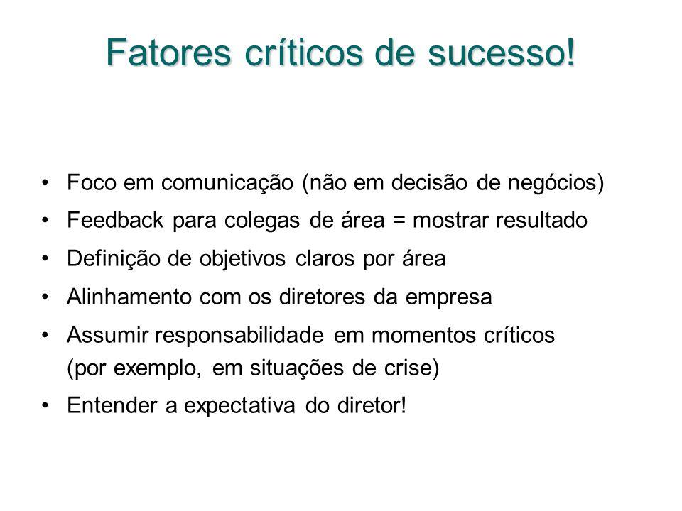 Fatores críticos de sucesso! Foco em comunicação (não em decisão de negócios) Feedback para colegas de área = mostrar resultado Definição de objetivos
