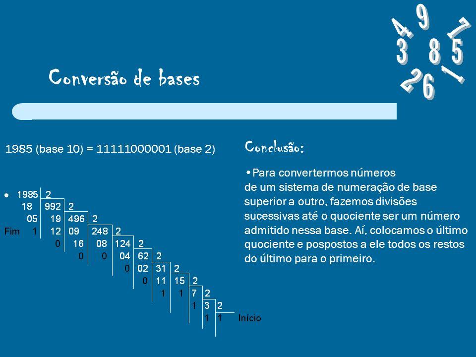 Conversão de bases 1985 (base 10) = 11111000001 (base 2) Conclusão: Para convertermos números de um sistema de numeração de base superior a outro, fazemos divisões sucessivas até o quociente ser um número admitido nessa base.