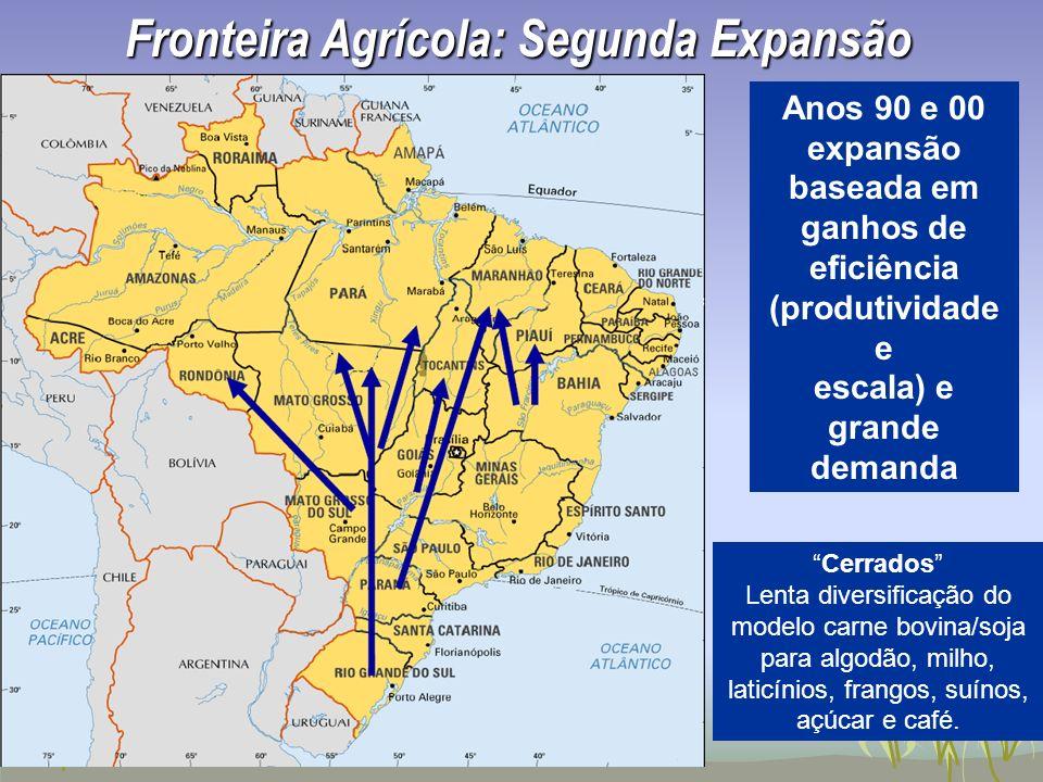 Anos 90 e 00 expansão baseada em ganhos de eficiência (produtividade e escala) e grande demanda Fronteira Agrícola: Segunda Expansão Cerrados Lenta di