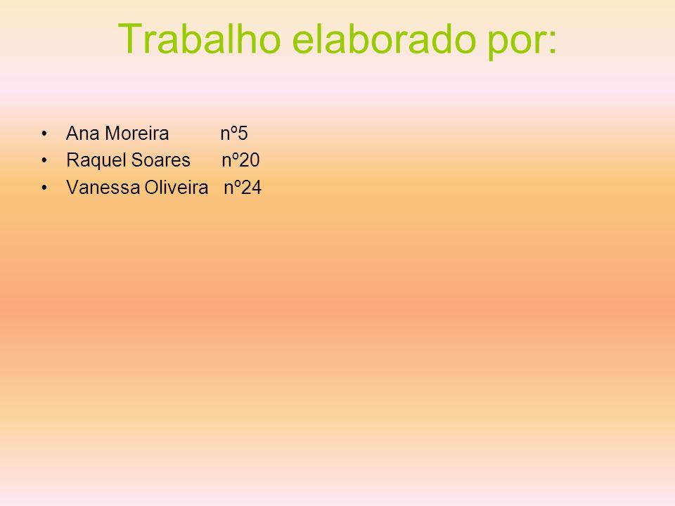 Trabalho elaborado por: Ana Moreira nº5 Raquel Soares nº20 Vanessa Oliveira nº24