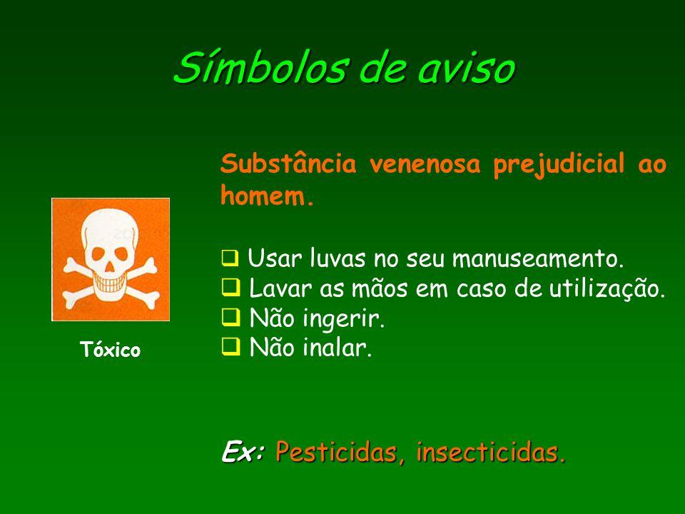 Símbolos de aviso Tóxico Ex: Pesticidas, insecticidas. Substância venenosa prejudicial ao homem. Usar luvas no seu manuseamento. Lavar as mãos em caso