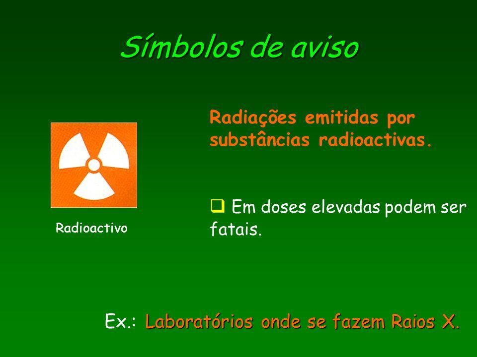 Símbolos de aviso Radioactivo Laboratórios onde se fazem Raios X. Ex.: Laboratórios onde se fazem Raios X. Radiações emitidas por substâncias radioact