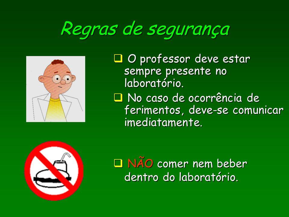 Regras de segurança O professor deve estar sempre presente no laboratório. O professor deve estar sempre presente no laboratório. No caso de ocorrênci
