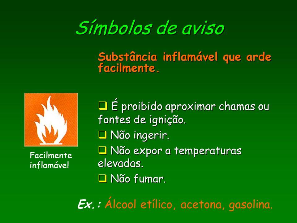 Símbolos de aviso Comburente Ex.: Ex.: Oxigénio.Substância que alimenta a combustão.