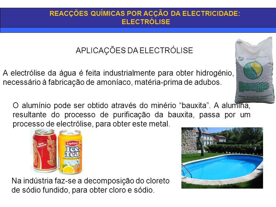 REACÇÕES QUÍMICAS POR ACÇÃO DA ELECTRICIDADE: ELECTRÓLISE APLICAÇÕES DA ELECTRÓLISE A electrólise da água é feita industrialmente para obter hidrogéni
