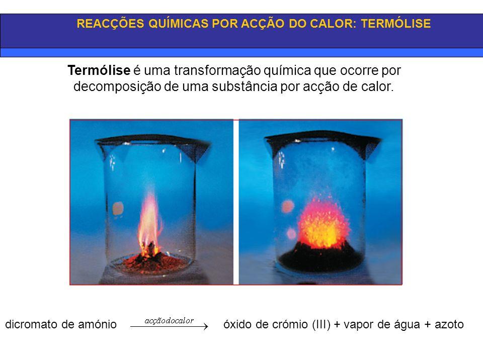 REACÇÕES QUÍMICAS POR ACÇÃO DO CALOR: TERMÓLISE Termólise é uma transformação química que ocorre por decomposição de uma substância por acção de calor