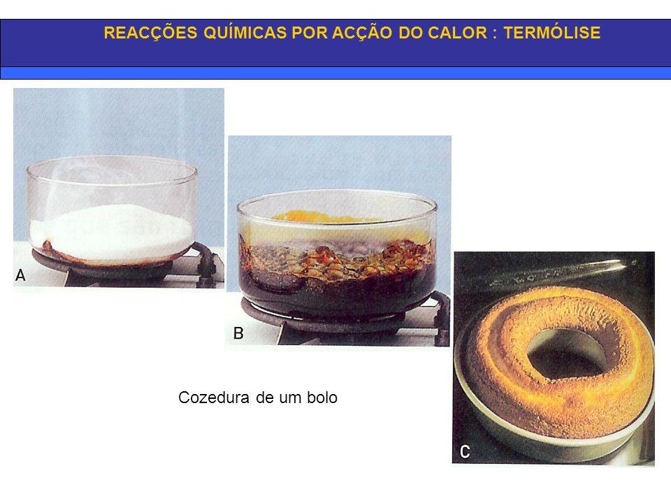 REACÇÕES QUÍMICAS POR ACÇÃO DO CALOR: TERMÓLISE Torrar o pão Cozedura de um ovo Por acção do calor