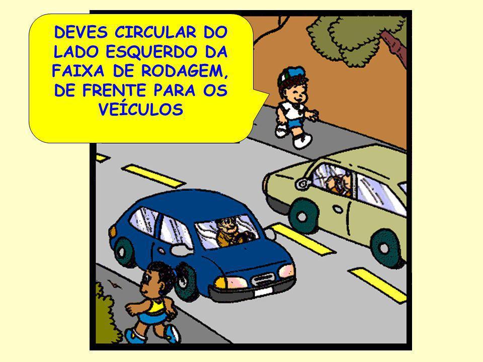 DEVES CIRCULAR DO LADO ESQUERDO DA FAIXA DE RODAGEM, DE FRENTE PARA OS VEÍCULOS
