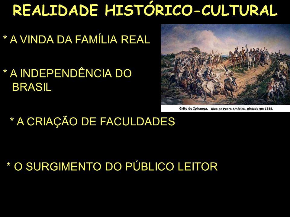 REALIDADE HISTÓRICO-CULTURAL * A VINDA DA FAMÍLIA REAL * A INDEPENDÊNCIA DO...BRASIL * A CRIAÇÃO DE FACULDADES * O SURGIMENTO DO PÚBLICO LEITOR