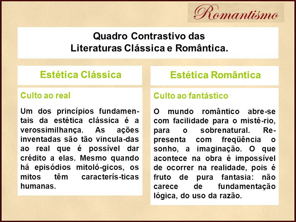 Quadro Contrastivo das Literaturas Clássica e Romântica. Romantismo Estética Clássica Culto ao real Um dos princípios fundamen- tais da estética cláss