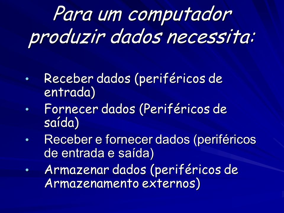 Para um computador produzir dados necessita: Receber dados (periféricos de entrada) Receber dados (periféricos de entrada) Fornecer dados (Periféricos