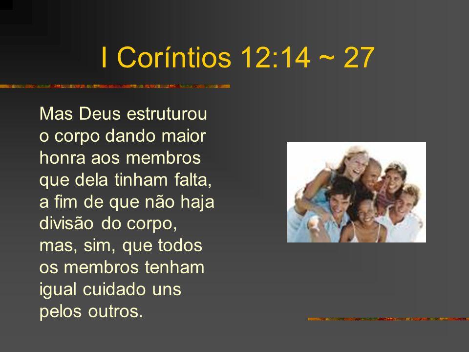 I Coríntios 12:14 ~ 27 Mas Deus estruturou o corpo dando maior honra aos membros que dela tinham falta, a fim de que não haja divisão do corpo, mas, sim, que todos os membros tenham igual cuidado uns pelos outros.