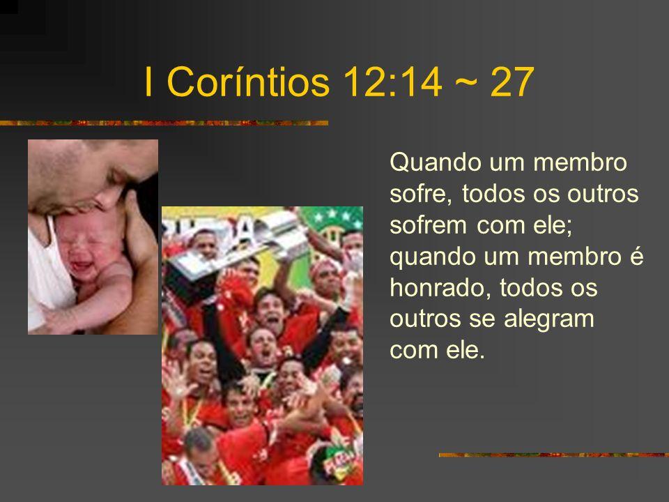 I Coríntios 12:14 ~ 27 Quando um membro sofre, todos os outros sofrem com ele; quando um membro é honrado, todos os outros se alegram com ele.