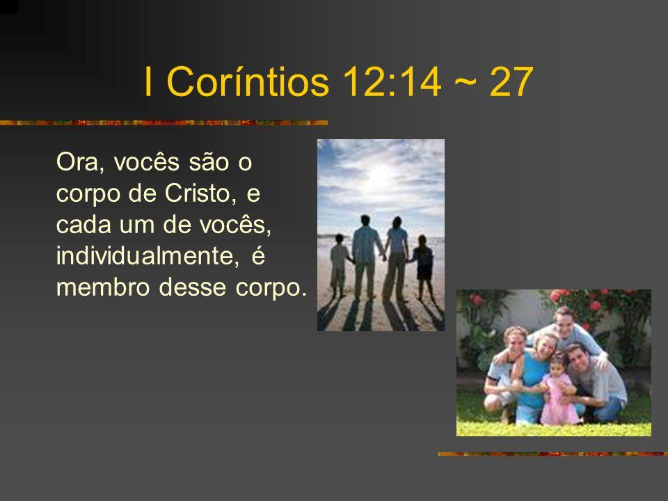 I Coríntios 12:14 ~ 27 Ora, vocês são o corpo de Cristo, e cada um de vocês, individualmente, é membro desse corpo.