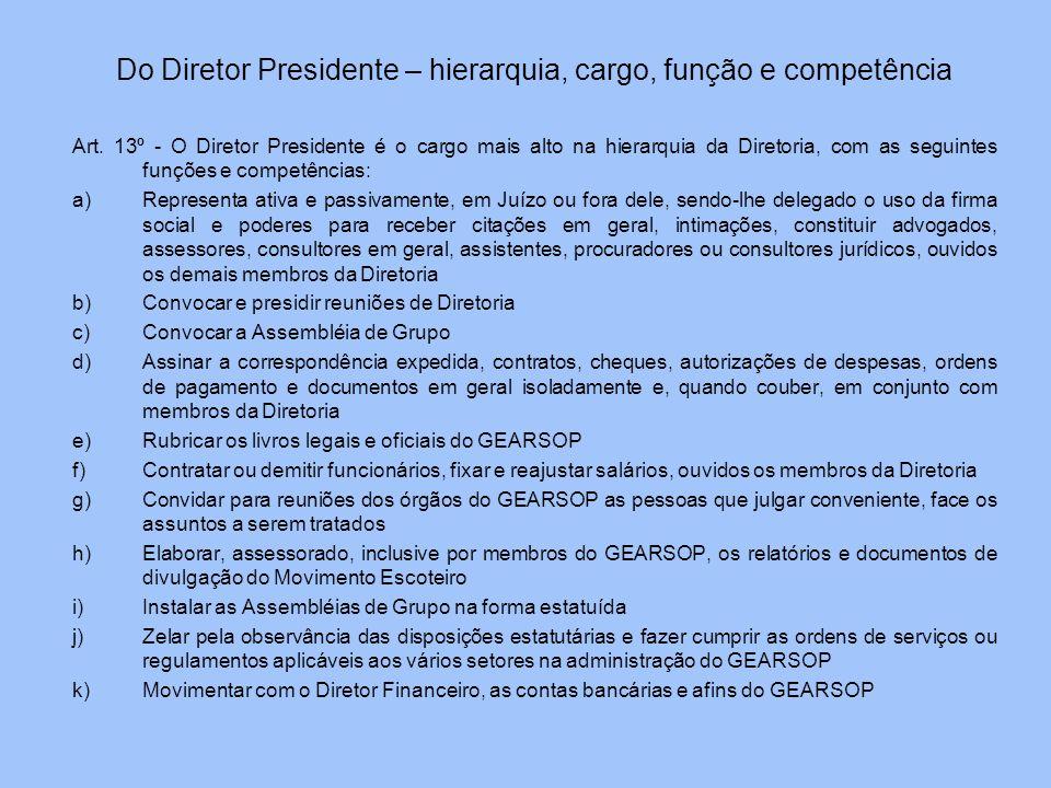 Do Diretor Presidente – hierarquia, cargo, função e competência Art. 13º - O Diretor Presidente é o cargo mais alto na hierarquia da Diretoria, com as
