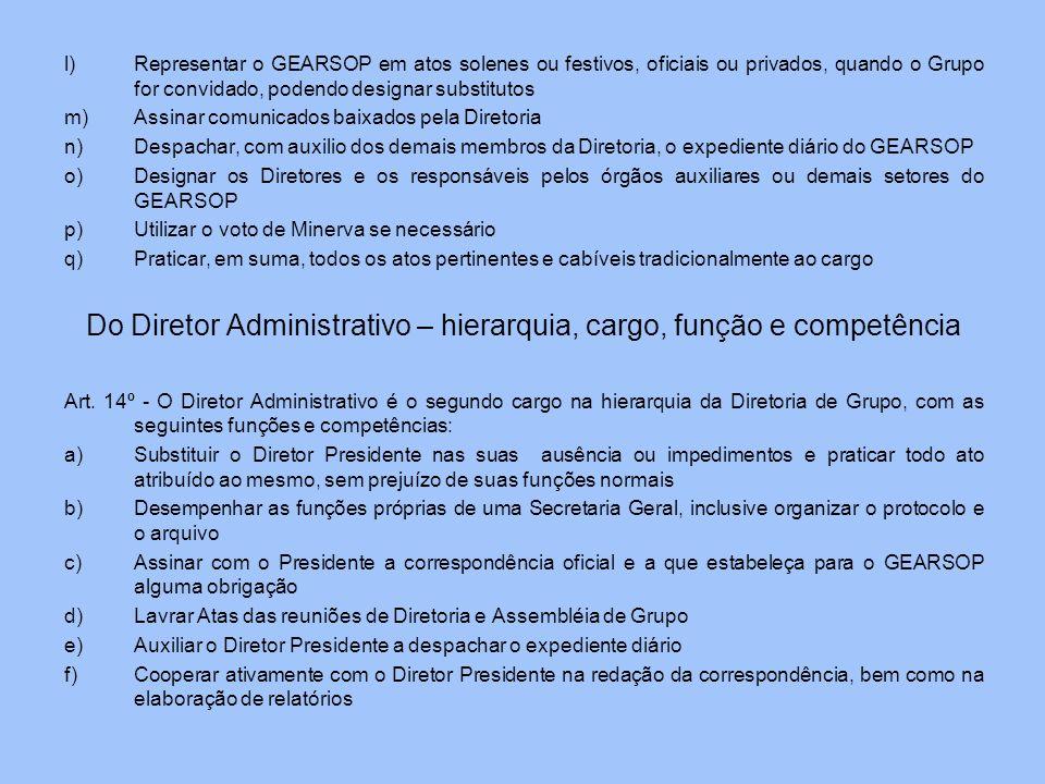 l)Representar o GEARSOP em atos solenes ou festivos, oficiais ou privados, quando o Grupo for convidado, podendo designar substitutos m)Assinar comuni