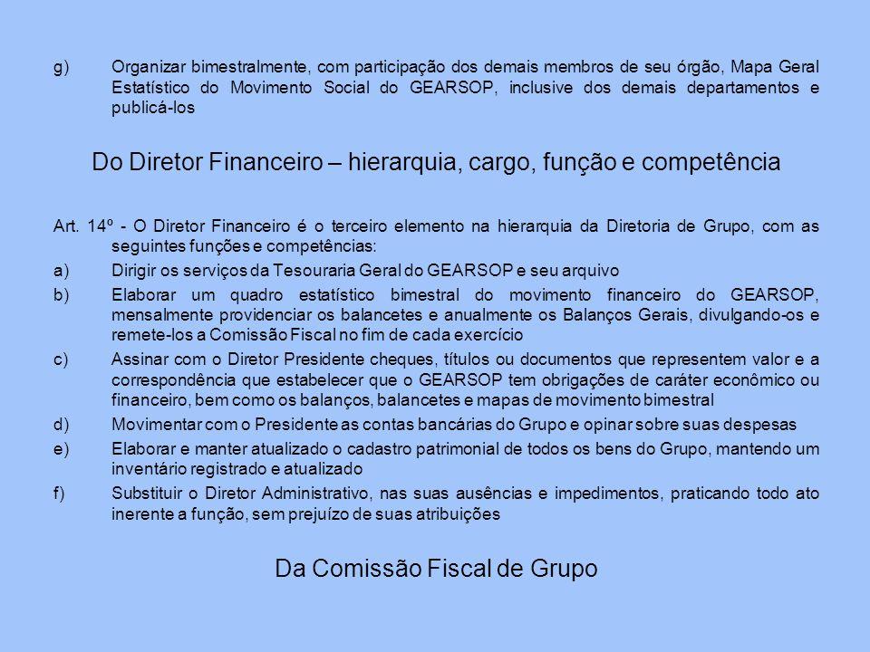 g)Organizar bimestralmente, com participação dos demais membros de seu órgão, Mapa Geral Estatístico do Movimento Social do GEARSOP, inclusive dos dem