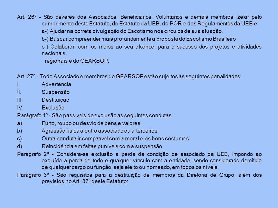 Art. 26º - São deveres dos Associados, Beneficiários, Voluntários e demais membros, zelar pelo cumprimento deste Estatuto, do Estatuto da UEB, do POR
