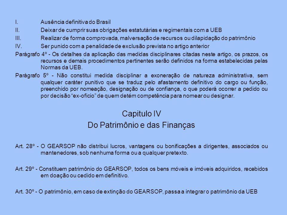 I.Ausência definitiva do Brasil II.Deixar de cumprir suas obrigações estatutárias e regimentais com a UEB III.Realizar de forma comprovada, malversaçã