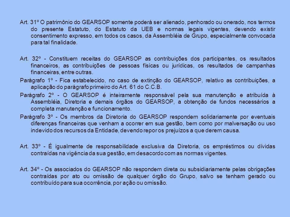 Art. 31º O patrimônio do GEARSOP somente poderá ser alienado, penhorado ou onerado, nos termos do presente Estatuto, do Estatuto da UEB e normas legai