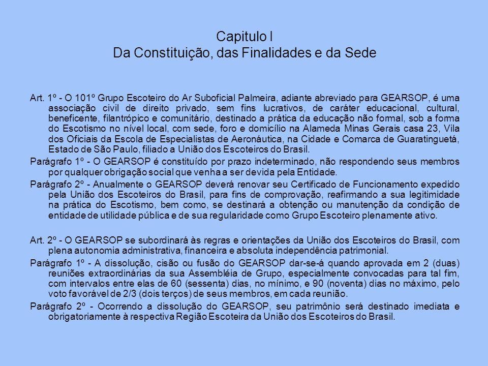 Art. 1º - O 101º Grupo Escoteiro do Ar Suboficial Palmeira, adiante abreviado para GEARSOP, é uma associação civil de direito privado, sem fins lucrat