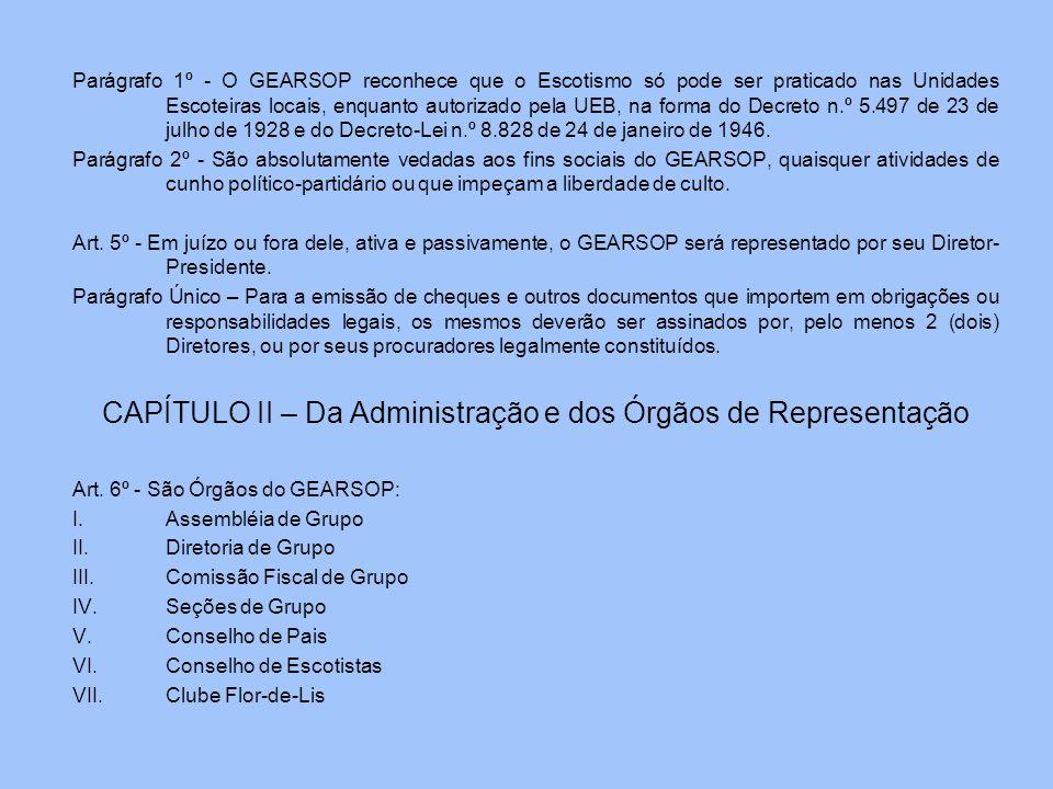 Parágrafo 1º - O GEARSOP reconhece que o Escotismo só pode ser praticado nas Unidades Escoteiras locais, enquanto autorizado pela UEB, na forma do Dec
