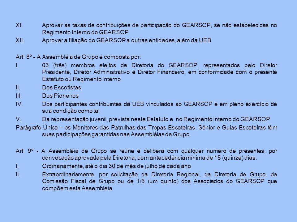 XI.Aprovar as taxas de contribuições de participação do GEARSOP, se não estabelecidas no Regimento Interno do GEARSOP XII.Aprovar a filiação do GEARSO