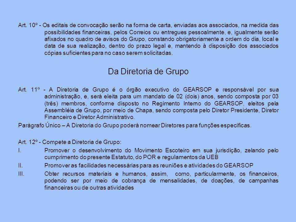 Art. 10º - Os editais de convocação serão na forma de carta, enviadas aos associados, na medida das possibilidades financeiras, pelos Correios ou entr