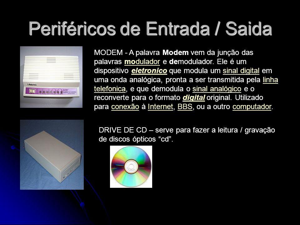Periféricos de Entrada / Saida MODEM - A palavra Modem vem da junção das palavras modulador e demodulador. Ele é um dispositivo eletronico que modula