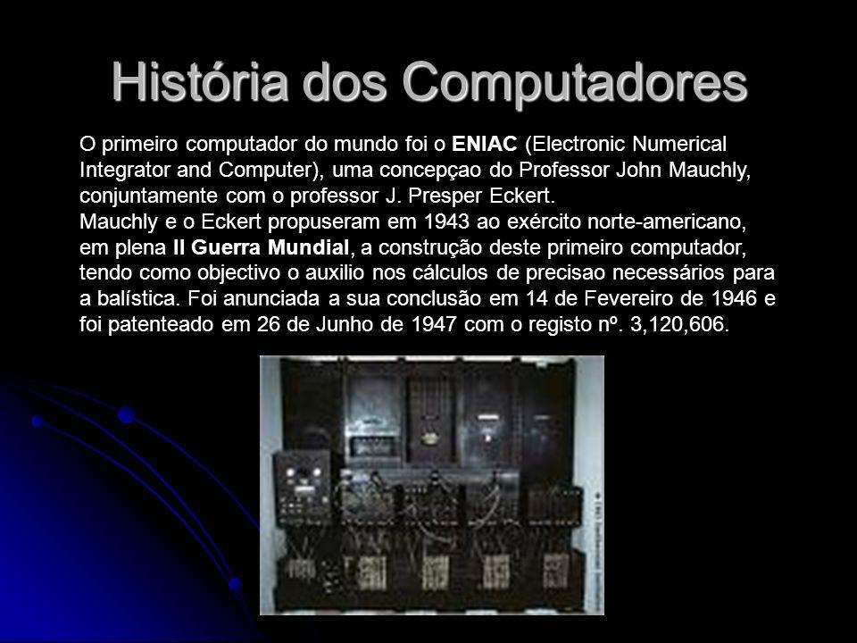 História dos Computadores O primeiro computador do mundo foi o ENIAC (Electronic Numerical Integrator and Computer), uma concepçao do Professor John M