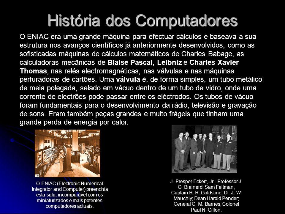 História dos Computadores O ENIAC era uma grande máquina para efectuar cálculos e baseava a sua estrutura nos avanços científicos já anteriormente des