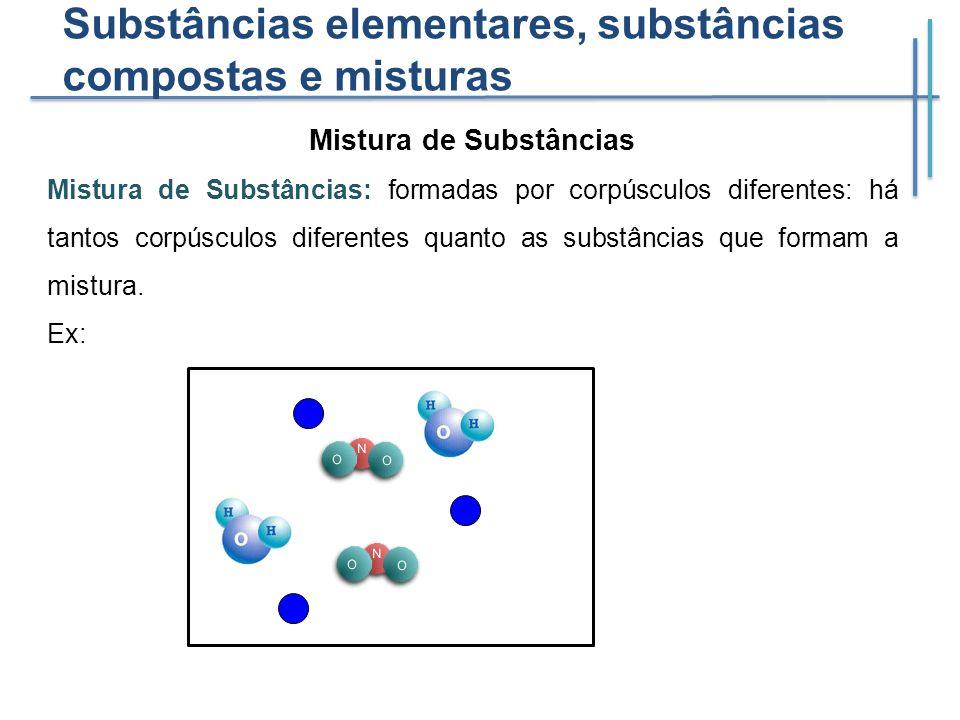 Substâncias elementares, substâncias compostas e misturas Mistura de Substâncias Mistura de Substâncias: formadas por corpúsculos diferentes: há tanto