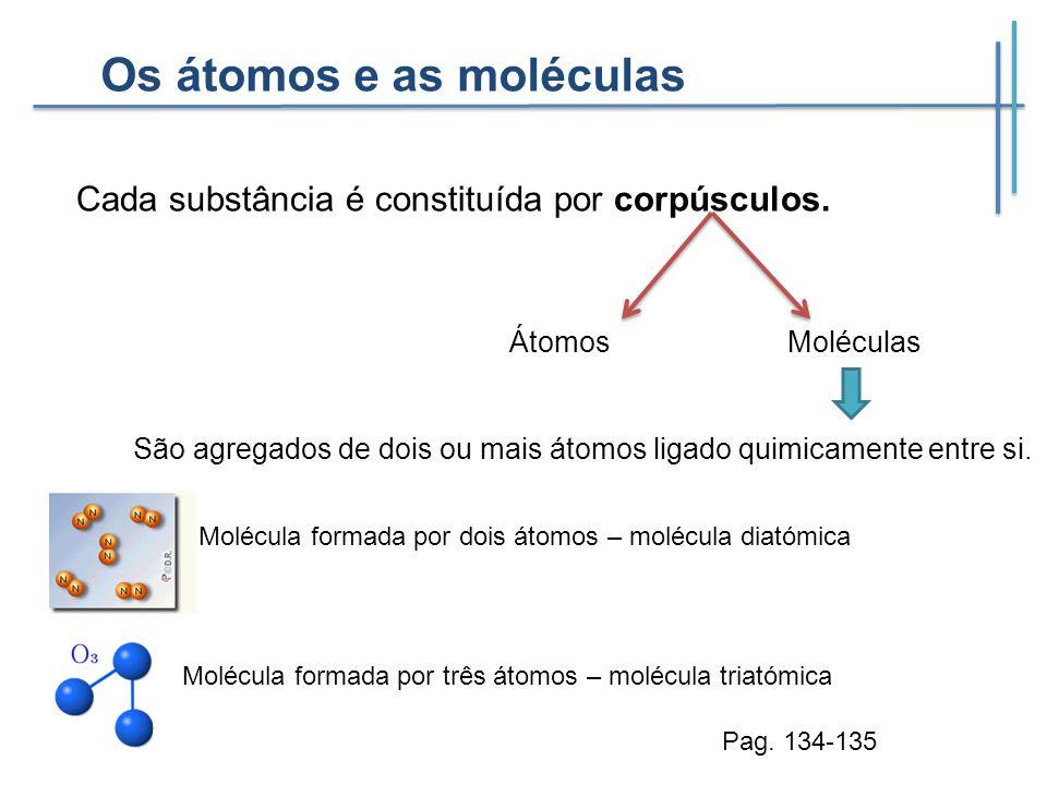 Os átomos e as moléculas Cada substância é constituída por corpúsculos. ÁtomosMoléculas São agregados de dois ou mais átomos ligado quimicamente entre