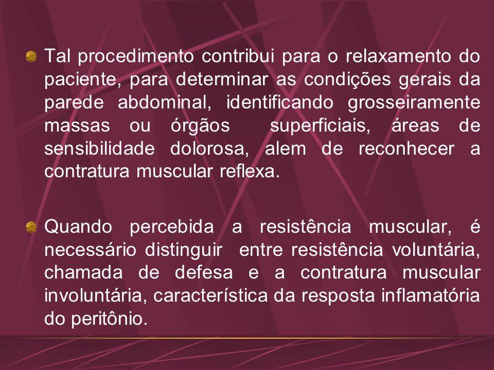Tal procedimento contribui para o relaxamento do paciente, para determinar as condições gerais da parede abdominal, identificando grosseiramente massa
